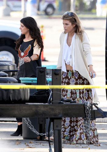 """AnnaLynne McCord and Shenae Grimes on set the forthcoming fourth season of """"90210"""""""