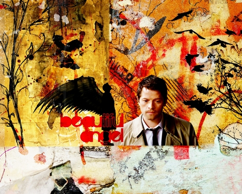 Castiel wallpaper probably containing a sign and anime entitled Castiel