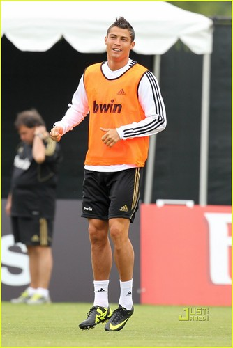 Cristiano Ronaldo: Pulling Up Shorts at Practice