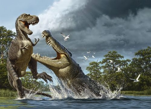 Dinosaurs wallpaper entitled Deinosuchus vs Albertosaurus