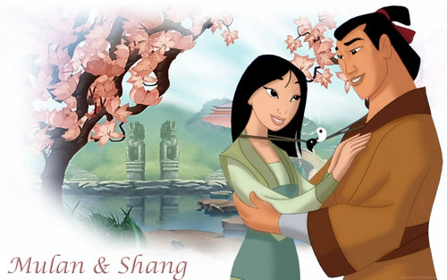 Mulan wallpaper probably containing anime titled Disney Couple Mulan and Shang