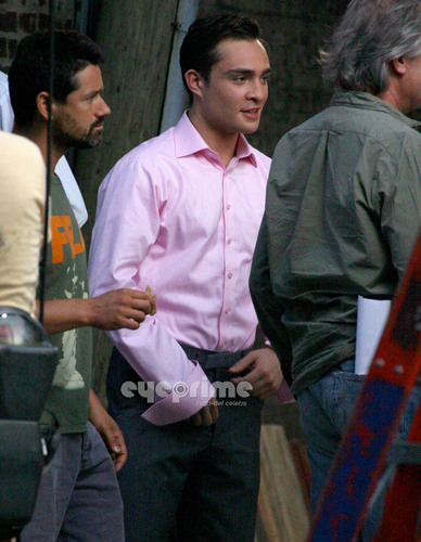 Ed Westwick on Set