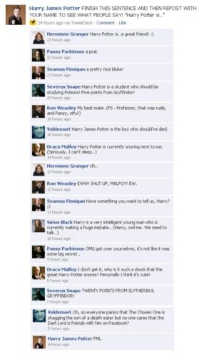 Harry Potter Vs. Twilight wolpeyper titled Funniest facebook conversation!! ROFL