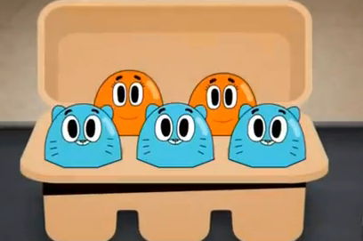 Gumball and Darwin as eggs