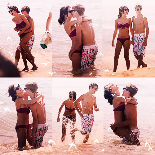 Justin Bieber und Selena Gomez Hintergrund with a bikini and a badende entitled Jelena