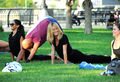 July 12: Doing yoga with Russell Simmons - heidi-klum photo