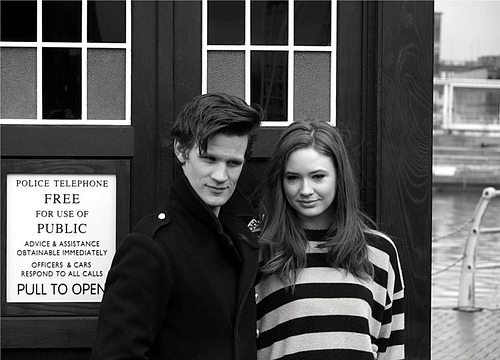 Matt Smith & Karen Gillan wallpaper possibly with a street and a sign entitled Matt Smith & Karen Gillan