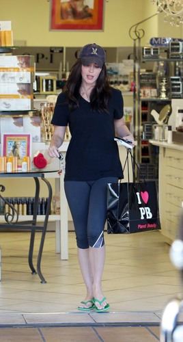 Megan Fox does some shopping and leaves with a rather large bag from Planet Beauty.