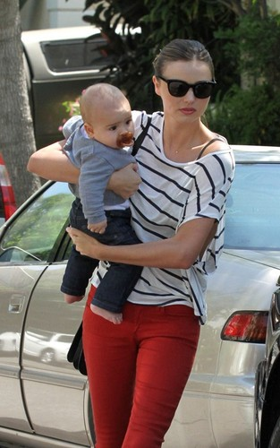 Miranda Kerr with her adorable son Flynn at a friend's house in Beverly Hills, California (July 16).