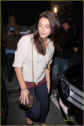 madami mga litrato of Ashley Greene leaving STK steakhouse in LA(July 14)