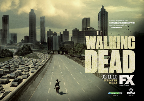 The Walking Dead wallpaper with a business district, a carriageway, and a skyscraper titled The Walking Dead Season 1 - International Posters - Greece