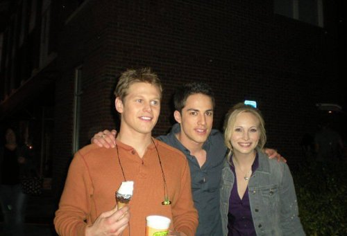 Candice Accola wallpaper probably containing a street entitled Zach, Michael and Candice