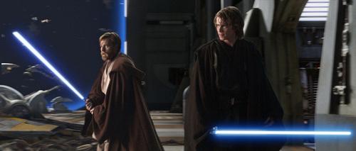 anakin and Obi-wan dueling Count Dooku