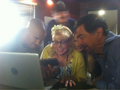 """can you guess what we are watching between takes…"" - kirsten-vangsness photo"