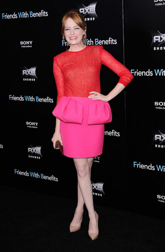 """Emma Stone attends the """"Friends with Benefits"""" premiere at Ziegfeld Theater on July 18, 2011 in NY"""