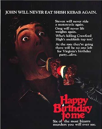 Horror films achtergrond containing anime titled Happy Birthday to Me poster