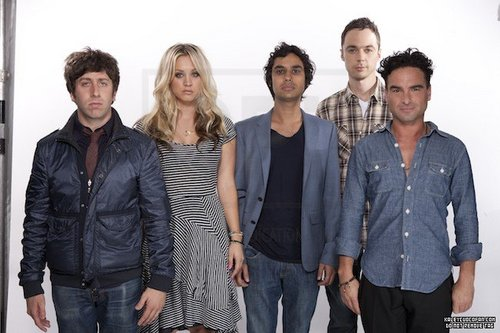Kaley and the boys from 'The Big Bang Theory'