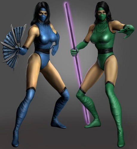 Mortal Kombat wallpaper possibly with a leotard and tights entitled MK2 Kitana and Jade (MK DLC)