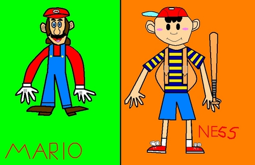 Super Smash Brothers Wallpaper With Anime Called SSBM Mario And Ness