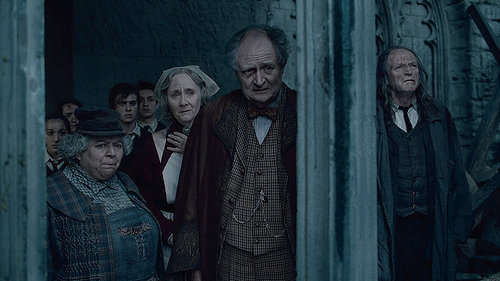 Slughorn, Pomona Sprout, apiun, poppy Pomfrey and Argus Filch