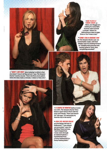 TV Guide scans: Comic Con, The Vampire Diaries edition! [Featuring Candice]!