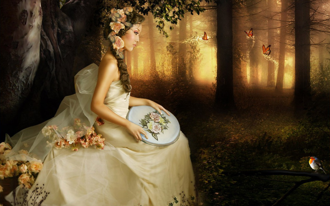 beautiful girl in the forest - Daydreaming Wallpaper (23871409