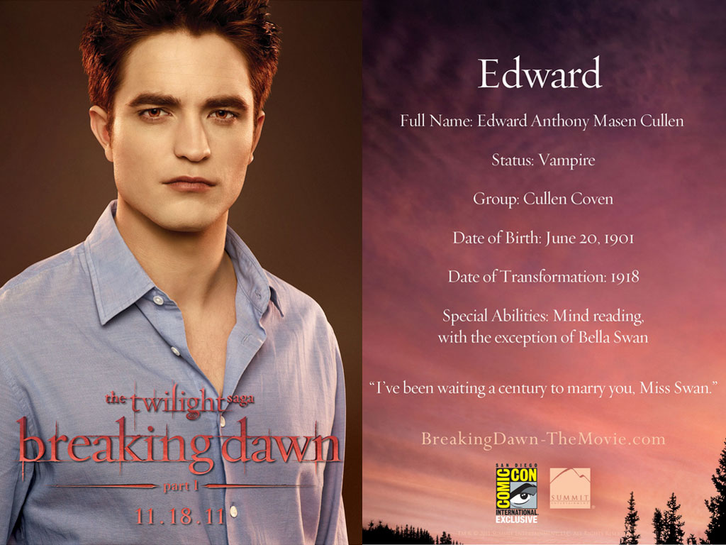breaking dawn part 1 - Edward Cullen Wallpaper (23878784) - Fanpop