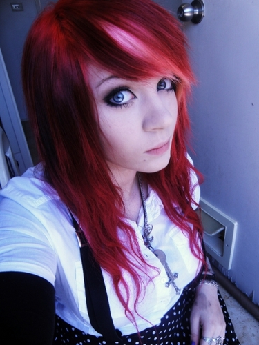 emo chiuck with red and semi whitish hair! :)
