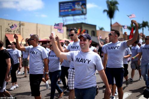 gay servicemen in San Diego pride parade