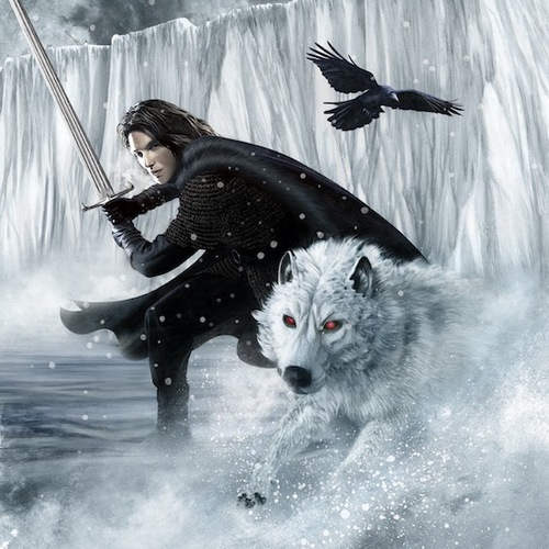A Song of Ice and Fire wallpaper called A Song Of Ice And Fire - 2012 Calendar - February - Jon Snow and Ghost