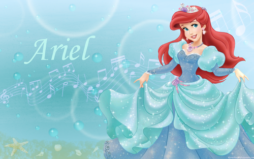 the little mermaid wallpaper called Ariel in Aqua and blue