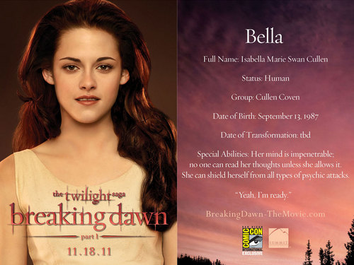 Bella promo card