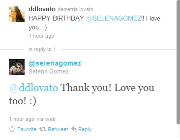 Demi tweets Happy Birthday to Selena :)