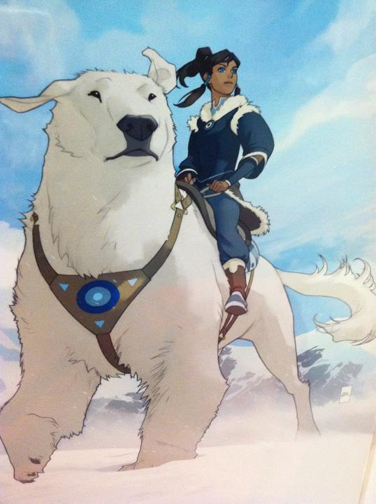 Korra and her animal guide; the polar bear dog! - avatar-the-legend-of-korra photo
