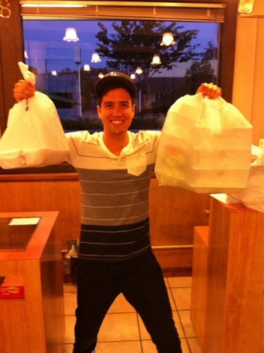 Logan and some plastic bags!