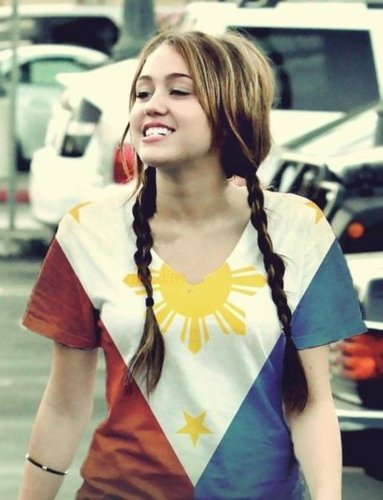 Miley wearing filipino shirt!