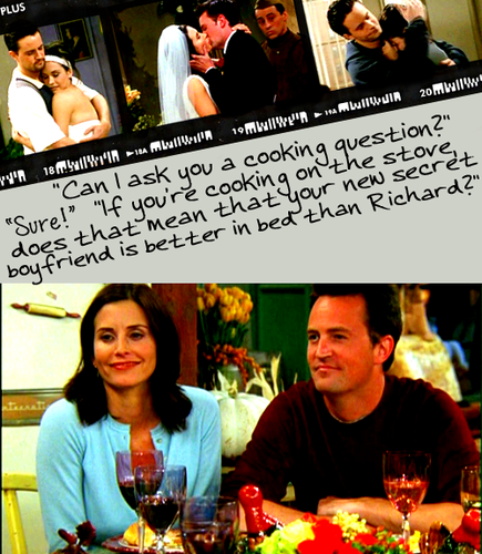 Monica et Chandler fond d'écran probably containing a dinner, a dîner table, and a brasserie entitled Mondler