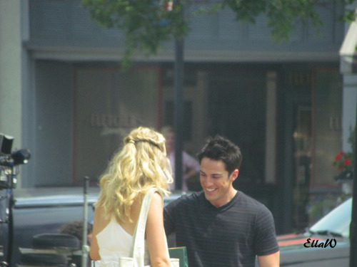 More BTS photos of Candice and her TVD cast mates filming season 3!