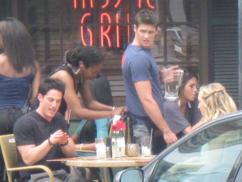 Steven, Michael, and Candice on set