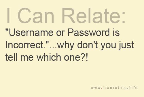 ユーザー名 または パスワード incorrect