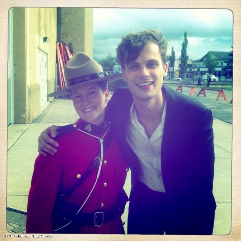 """""""Me w/ a Royal Canadian mounted policewoman looking for dangerous intruders at the dinosaur ball"""""""