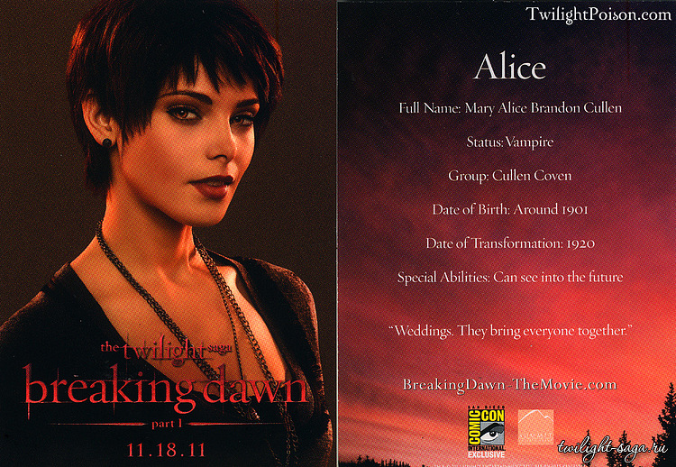 Alice Cullen - Comic Con promotional cards