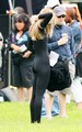 AnnaLynne McCord dressed as a mascot for a sorority prank in an upcoming scene for