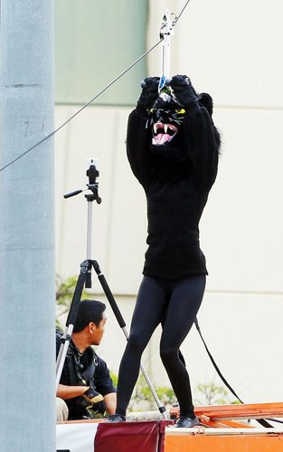 """AnnaLynne McCord dressed as a mascot for a sorority prank in an upcoming scene for """"90210"""" (July 26)"""