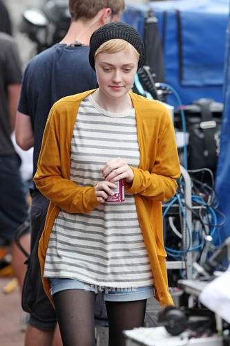 "Dakota Fanning films her latest film ""Now is Good"" in Brighton, UK, July 26"
