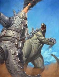 Godzilla ripping off Mechagodzilla's head.