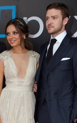 "Justin Timberlake and Mila Kunis at the Moscow premiere of ""Friends with Benefits"" (July 26)."
