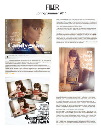 Lenka in Filler Magazine