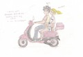 Percy and Annabeth on red Vespa - percy-jackson-and-the-olympians-books fan art