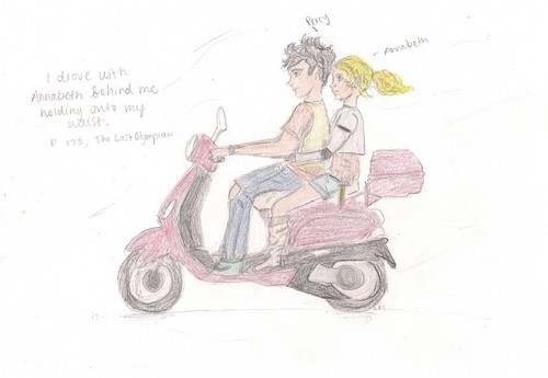 Percy and Annabeth on red Vespa